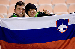 Fans of Slovenia at the last 2010 FIFA World Cup South Africa Qualifying match in Group 3 between San Marino and Slovenia, on October 14, 2009, in Olimpico Stadium, Serravalle, San Marino. Slovenia won 3:0. (Photo by Vid Ponikvar / Sportida)