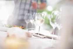Close up of wine glasses on table (Credit Image: © Image Source/Albert Van Rosendaa/Image Source/ZUMAPRESS.com)