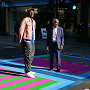 The Mayor of London, Sadiq Khan and artist Yinka Ilori attended Let's Do London Autumn culture season with spectacular public street art installations. Joined by artist Yinka Ilori, and photographer Rankin to unveil Bring London Together – a spectacular new public art commission transforming 18 pedestrian crossings with distinctive playful designs using a bright colour pallet and bold forms. The 'Bring London Together'  at Tottenham Court Road on 2021-09-16 London, UK.