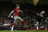 Rhys Patchell of Wales in action.Wales v Scotland, NatWest 6 nations 2018 championship match at the Principality Stadium in Cardiff , South Wales on Saturday 3rd February 2018.<br /> pic by Andrew Orchard, Andrew Orchard sports photography