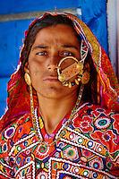 Inde, Gujarat, Kutch, village de Hodka, population d'ethnie Harijan // India, Gujarat, Kutch, Hodka village, Harijan ethnic group