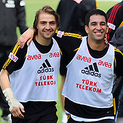 Galatasaray's players Arda TURAN (R), Caner ERKIN (L) during their training session at the Jupp Derwall training center, Tuesday, April 20, 2010. Photo by TURKPIX