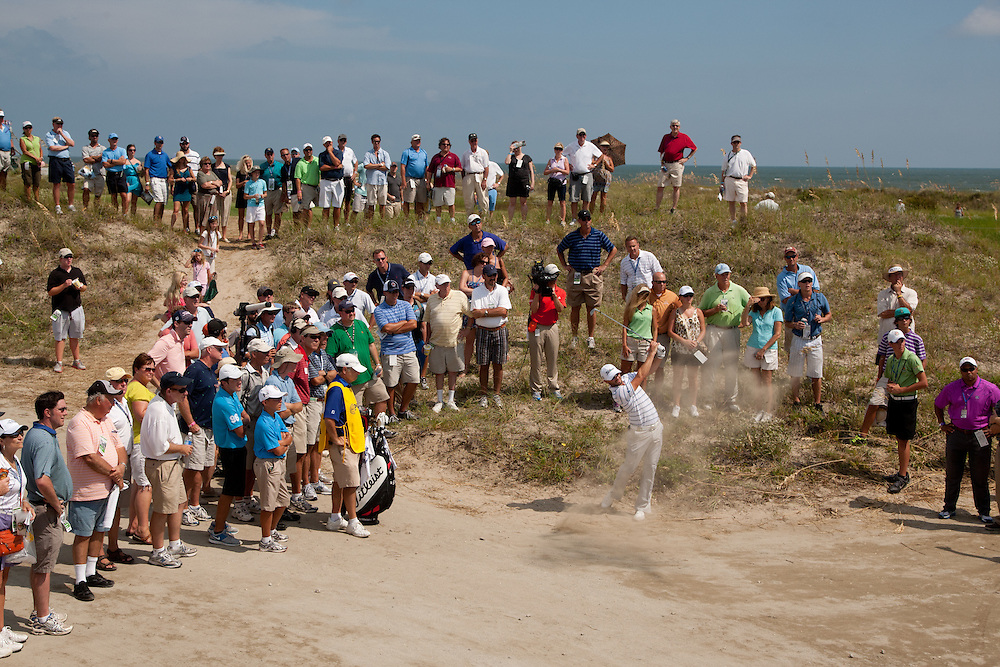 KIAWAH ISLAND, SC - AUGUST 9:  Kyle Stanley plays a shot from the rough during the first round of the 2012 PGA Championship at The Ocean Course on Kiawah Island, South Carolina on August 9, 2012. (Photograph ©2012 Darren Carroll) *** Local Caption *** Kyle Stanley