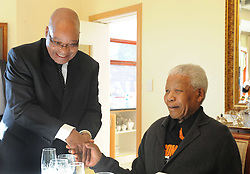 QUNU, July 18, 2011  South African President Jacob Zuma (L) visits former President Nelson Mandela to congratulate his 93rd birthday in his home village of Qunu in Eastern Cape Province, South Africa, July 18, 2011. (Credit Image: © Shao Haijun/Xinhua/ZUMAPRESS.com)