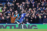 Bertrand Traore of Chelsea celebrates after scoring his sides 1st goal to make it 1-0. Barclays Premier league match, Chelsea v Stoke city at Stamford Bridge in London on Saturday 5th March 2016.<br /> pic by John Patrick Fletcher, Andrew Orchard sports photography.