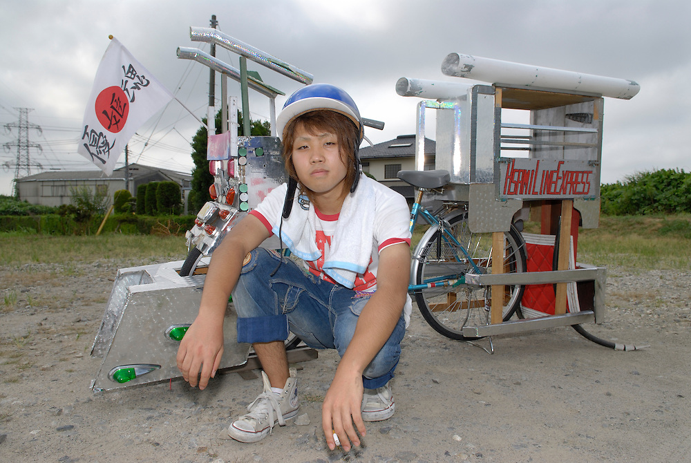 """Kazuki Abe (18) with his decochari customized bicycle. The bicycle took 7 months to make. """"There are only 10 people in our national decochari club. We need to try harder."""""""