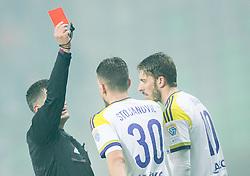 Referee with red card for Petar Stojanovic #30 of Maribor during football match between NK Olimpija Ljubljana and NK Maribor in 15th Round of Prva liga Telekom Slovenije 2015/16, on November 21, 2015 in SRC Stozice, Ljubljana, Slovenia. Photo by Vid Ponikvar / Sportida