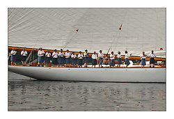 Moonbeam's crew dressed in kilts on the Tuesday morning and paraded around the entrance to the Gareloch off Rhu...This the largest gathering of classic yachts designed by William Fife returned to their birth place on the Clyde to participate in the 2nd Fife Regatta. 22 Yachts from around the world participated in the event which honoured the skills of Yacht Designer Wm Fife, and his yard in Fairlie, Scotland...FAO Picture Desk..Marc Turner / PFM Pictures