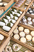 Artisan French cheeses on sale at street market Bordeaux, France