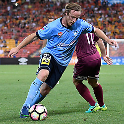 BRISBANE, AUSTRALIA - NOVEMBER 19: Rhyan Grant of Sydney dribbles the ball during the round 7 Hyundai A-League match between the Brisbane Roar and Sydney FC at Suncorp Stadium on November 19, 2016 in Brisbane, Australia. (Photo by Patrick Kearney/Brisbane Roar)