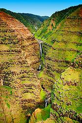 Wai`alae or Waialae Falls, 1,000 foot drop, Waimea Canyon, Kauai, Hawaii