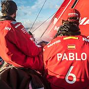Leg 02, Lisbon to Cape Town, day 11, on board MAPFRE, Pablo Arrarte y Blair Tuke a los mandos del barco. Photo by Ugo Fonolla/Volvo Ocean Race. 15 November, 2017