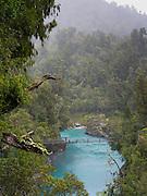 View of the Hokitika Gorge on a rainy day, near Hokitika, New Zealand.
