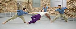 Balletboyz<br /> studio rehearsal for 'Young Men' at the BalletBoyz dance studio in Kingston, Surrey, Great Britain <br /> 16th September 2015 <br /> <br /> performed in costume :<br /> <br /> Edward Pearce<br /> Marc Galvez<br /> Bradley Waller <br /> Jennifer White <br /> <br /> <br /> Andrea Carrucciu, Simone Donati, Flavien Esmieu, Marc Galvez, Oxana Panchenko, Edward Pearce, Leon Poulton, <br /> Harry Price, Matthew Rees, Matthew Sandiford, Bradley Waller, Jennifer White<br /> <br /> 'YOUNG MEN' <br /> Press nights:  October 6th and 7th 2015 at Sadler's Wells, London.<br /> <br /> <br /> <br /> Directors/Producers:  Michael Nunn and William Trevitt<br /> Choreography:   Iván Pérez<br /> Music:   Keaton Henson<br /> Lighting design: Jackie Shemesh<br /> Costumes: Carlijn Petermeijer<br /> <br /> <br /> Photograph by Elliott Franks <br /> Image licensed to Elliott Franks Photography Services