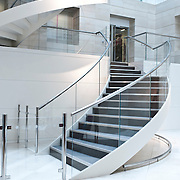 Office interior with spiral staircases