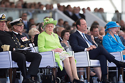Buckingham Palace has announced Prince Philip, The Duke of Edinburgh, has passed away age 99 - FILE - Prince Philip, Duke of Edinburgh and Queen Elisabeth II of Britain , and french president Francois Hollande, Denmark Queen Margrethe II.<br /> International D-Day commemoration ceremony in Ouistreham as part of the 70th anniversary of the World War Two D-Day landing, at Sword Beach, Ouistreham, Normandy, France, on June 06, 2014. Photo by Laurent Chamussy/Pool/ABACAPRESS.COM