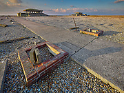 The approach road to the Pagodas, the secret test buildings at the Atomic Weapons Research Establishment on the shingle spit at Orford Ness in Suffolk.