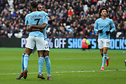 Manchester City forward Gabriel Jesus (33) celebrates with Raheem Sterling (7) after scoring his team's third goal taking the score to 3-1 to Manchester City during the Premier League match between West Ham United and Manchester City at the London Stadium, London, England on 29 April 2018. Picture by Toyin Oshodi.