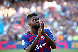 August 15, 2018 - Barcelona, Spain - Samuel Umtiti during the presentation of the team 2018-19 before the match between FC Barcelona and C.A. Boca Juniors, corresponding to the Joan Gamper trophy, played at the Camp Nou, on 15th August, 2018, in Barcelona, Spain. (Credit Image: © Joan Valls/NurPhoto via ZUMA Press)