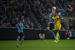 November 5, 2017 - Bronx, New York, U.S - New York City FC defender FREDERIC BRILLANT (13) heads the ball over Columbus Crew forward OLA KAMARA (11) during leg 2 of the Eastern Conference Semifinal at Yankee Stadium, Bronx, NY.  NYCFC defeats Columbus Crew 2-0.  Columbus wins 4-3 on aggregate. (Credit Image: © Mark Smith via ZUMA Wire)