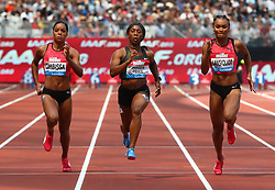 July 21, 2018 - London, United Kingdom - L-R Orlann Ombissa-Dzangue of France Shelly-Ann Fraser-Pryce of Jamaica and Imani-Lara Lansiquot of Great Britain and Northern Ireland compete in the 100m Women Heat A.during the Muller Anniversary Games IAAF Diamond League Day One at The London Stadium on July 21, 2018 in London, England. (Credit Image: © Action Foto Sport/NurPhoto via ZUMA Press)