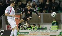 Photo: Marc Atkins.<br /> Milton Keynes Dons v Tottenham Hotspur. Carling Cup. 25/10/2006. Reto Zeigler shoots on goal.