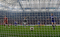 03.04.2010, Veltins Arena, Gelsenkirchen, GER, 1.FBL, Schalke 04 vs Bayern München (Muenchen), im Bild: 0:1 für die Bayern. Links jubelt Ivica Olic (Bayern München / Muenchen CRO #11). In der mitte Torwart Manuel Neuer (Schalke - GER #1) und rechts Heiko Westermann (Schalke - GER #2), aufgenommen mit Remote / Hintertorkamera. EXPA Pictures © 2010, PhotoCredit: EXPA/ nph/  Scholz / SPORTIDA PHOTO AGENCY