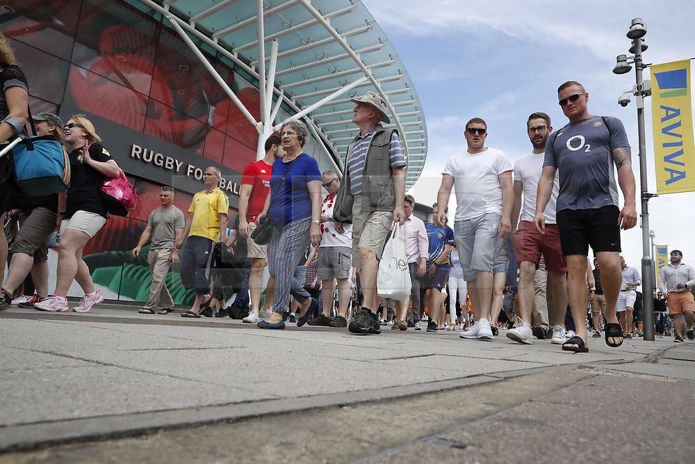 © Licensed to London News Pictures. 27/05/2017. London, UK.   Rugby fans are seen outside Twickenham stadium ahead of the Aviva Premiership Rugby Final. Security has been increased at venues across the UK, with the military called in to help police, following a terrorist attack at a music concert in Manchester on Monday evening. Photo credit: Peter Macdiarmid/LNP