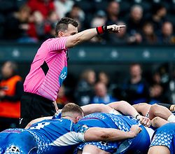 Referee Nigel Owens<br /> <br /> Photographer Simon King/Replay Images<br /> <br /> Guinness PRO14 Round 18 - Ospreys v Dragons - Saturday 23rd March 2019 - Liberty Stadium - Swansea<br /> <br /> World Copyright © Replay Images . All rights reserved. info@replayimages.co.uk - http://replayimages.co.uk