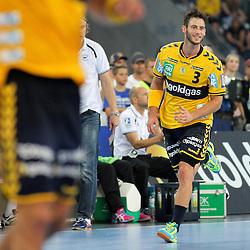 Rhein-Neckars Uwe Gensheimer (Nr.03) jubelt im Spiel Rhein-Neckar-Loewen - HSV Handball.<br /> <br /> Foto © P-I-X.org *** Foto ist honorarpflichtig! *** Auf Anfrage in hoeherer Qualitaet/Aufloesung. Belegexemplar erbeten. Veroeffentlichung ausschliesslich fuer journalistisch-publizistische Zwecke. For editorial use only.