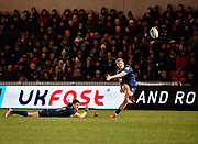 Sale Sharks stand-off Rob Du Preez kicks a conversion during a Gallagher Premiership Rugby Union match Sale Sharks -V- Leicester Tigers, Sale won the match 36-3 onFriday, Feb. 21, 2020, in Eccles, United Kingdom. (Steve Flynn/Image of Sport via AP)