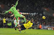 Stoke city goalkeeper Asmir Begovic fouls/collides with Sunderland's Steven Fletcher  Barclays Premier league, Stoke city v Sunderland  pic by Andrew Orchard,