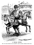 A Freak Entry. Mr de Valera begins to be doubtful about backing himself both ways. (an Interwar cartoon shows Eamon de Valera entering a race with a horse of two opposing Republic and Commonwealth heads)