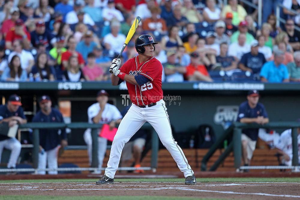 Colby Bortles #25 of the Ole Miss Rebels bats during Game 4 of the 2014 Men's College World Series between the Virginia Cavaliers and Ole Miss Rebels at TD Ameritrade Park on June 15, 2014 in Omaha, Nebraska. (Brace Hemmelgarn)