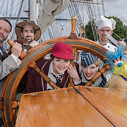 Cutty Sark , London, UK. 21th July 2017. The cast of brand new family musical, Lewis Carroll's The Hunting of the Snark, will be visiting the Cutty Sark this Friday to celebrate their west end debut by Vaudeville Theatre