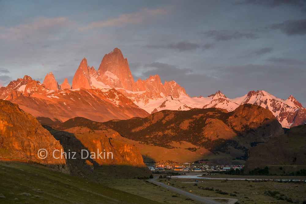 Fitzroy overlooks El Chalten (first thing in the morning)
