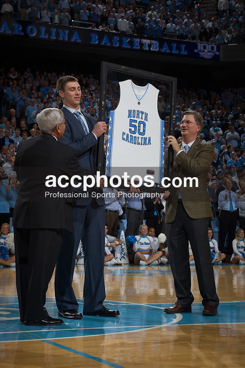 10 February 2010: North Carolina Tar Heels former player Tyler Hansbrough had his jersey retired during a 82-50 loss to the Duke Blue Devils at the Dean E. Smith Center in Chapel Hill, NC.