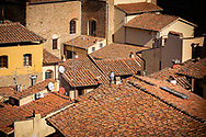 Tiled rooftops in Florence, Tuscany, Italy.<br /> Picture date: Sunday February 24, 2019.<br /> Photograph by Christopher Ison ©<br /> 07544044177<br /> chris@christopherison.com<br /> www.christopherison.com