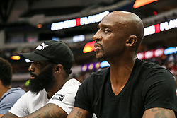August 17, 2018 - Dallas, TX, U.S. - DALLAS, TX - AUGUST 17: Ex-Dallas Maverick Jason Terry watches the Big 3 Basketball playoff game between the Power and the Tri-State on August 17, 2018 at the American Airlines Center in Dallas, Texas. Power defeats Tri-State 51-49. (Photo by Matthew Pearce/Icon Sportswire) (Credit Image: © Matthew Pearce/Icon SMI via ZUMA Press)