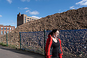 Huge pile of bricks as part of a development / redevelopment of old industrial builindgs in the city centre on 24th March 2021 in Birmingham, United Kingdom. The city is under a long term and major redevelopment, with much of its industrial past being demolished and made into new flats for residential homes, as part of the Big City Plan.