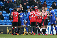 Didier Ndong of Sunderland (l) is shown red card and sent off by referee Andrew Madley after a bad tackle/foul on Junior Hoilett of Cardiff city.  EFL Skybet championship match, Cardiff city v Sunderland at the Cardiff city stadium in Cardiff, South Wales on Saturday 13th January 2018.<br /> pic by Andrew Orchard, Andrew Orchard sports photography.
