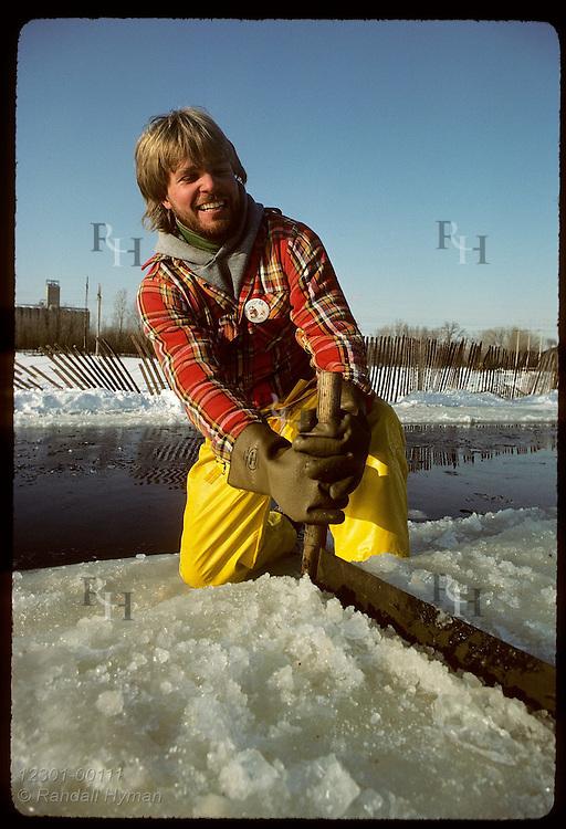 Man on Pickerel Lake saws ice slab into blocks for St Paul Wintr Carnival ice-sculpture pedestals Minnesota