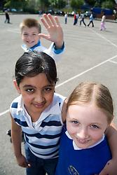 Group of children in school playground,