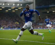 Romelu Lukaku of Everton celebrates during the English Premier League match at Goodison Park Stadium, Liverpool. Picture date: April 9th 2017. Pic credit should read: Simon Bellis/Sportimage