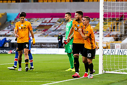 Daniel Podence of Wolverhampton Wanderers celebrates with teammate Matt Doherty after scoring a goal to make it 1-0 - Mandatory by-line: Robbie Stephenson/JMP - 20/07/2020 - FOOTBALL - Molineux - Wolverhampton, England - Wolverhampton Wanderers v Crystal Palace - Premier League