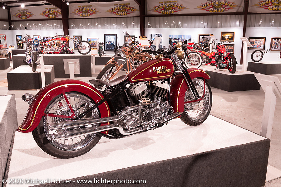Cole Foster's Chris Huber Harley-Davidson Flathead cruiser custom in the Heavy Mettle - Motorcycles and Art with Moxie exhibition at the Sturgis Buffalo Chip. This is the 2020 iteration of the annual Motorcycles as Art series curated and produced by Michael Lichter. Sturgis, SD, USA. Thursday, August 6, 2020. Photography ©2020 Michael Lichter.