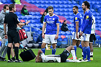 Football - 2020 / 2021 Sky Bet Championship - Cardiff City vs Swansea City - Cardiff City Stadium<br /> <br /> Cardiff players look on with disdain as André Ayew of Swansea writhes on the ground in a stadium without fans because of the pandemic crisis<br /> <br /> COLORSPORT/WINSTON BYNORTH
