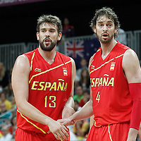 31 July 2012: Spain Marc Gasol and Pau Gasol are seen during the first half of Spain vs Australia, during the men's basketball preliminary, at the Basketball Arena, in London, Great Britain.