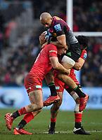 Rugby Union - 2019 / 2020 Gallagher Premiership - Harlequins vs. Saracens<br /> <br /> Harlequins' Aaron Morris is tackled by Saracens' Alex Lozowski and Dom Morris, at The Stoop.<br /> <br /> COLORSPORT/ASHLEY WESTERN