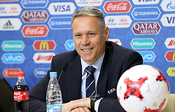 June 15, 2017 - Saint Petersburg, Russia - June 15, 2017. - Russia, Saint Petersburg. - FIFA Chief Officer for Technical Development Marco van Basten at a news conference on the Goal Decision System during Confederations Cup matches. (Credit Image: © Russian Look via ZUMA Wire)